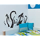 Pirateship Attacked by the Kracken Wall Decal Sticker by Stickerbrand 24inX45in. (Black) - Easy to Apply / Removable. Made in the USA. No Glue Needed. Black #GFoster166s