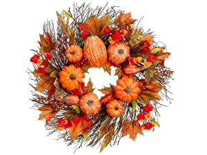 "24"" Pumpkin/Squash/Maple Leaf Wreath Fall (Pack of 2)"