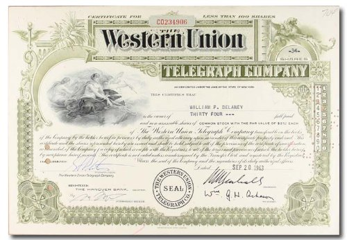 western-union-telegraph-company-1960s-stock-certificate-olive-sc-aaa-061