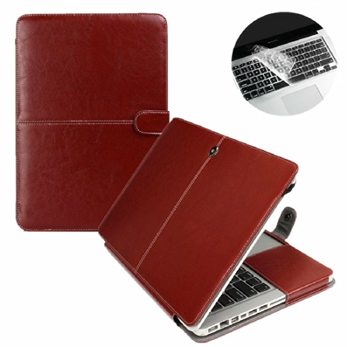 Se7enline Premium Quality Brown PU Leather Book Cover Clip On Case for Apple 13 inch MacBook Air Model A1369 / A1466, with Transparent Keyboard Cover (11 Inc Macbook Air Sleeve Pink compare prices)