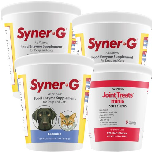 3Pack Synergreg; Digestive Enzymes Granules (1362 Gm) + Free Joint Treats