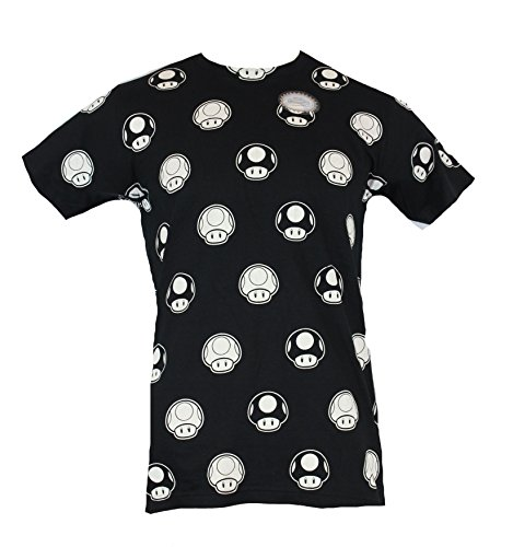 Super Mario Brothers Mens T-Shirt - Black and White Mushrooms Allover Image