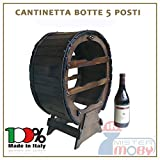 3legno Cantinetta In Legno Cantinella Botte 5 Posti Porta Bottiglie Vino Made In Italy