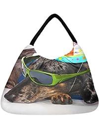 Snoogg A Dogs Life Having Fun At A Party Beach Tote Shopper Bag Handbag Shoulder