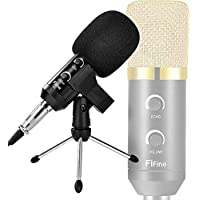 Fifine Professional Cardioid Solid State Condenser Broadcast Recording Microphone With 3.5mm Plug And USB Power...