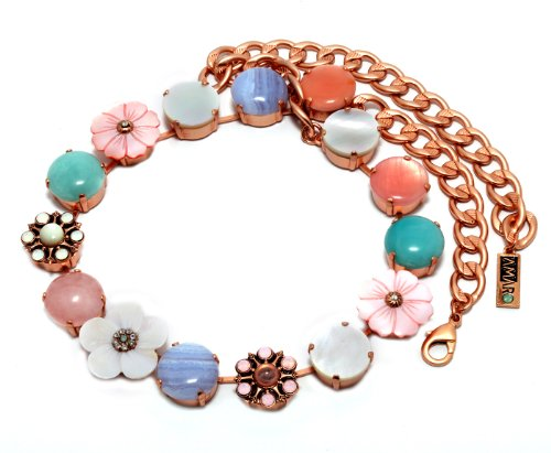 Israeli Amaro Jewelry Studio 'Flow' Collection 24K Rose Gold Plated Necklace Set with Amazonite, Blue Lace Agate, Mother of Pearl, Pink Quartz, Variscite, Swarovski Crystals