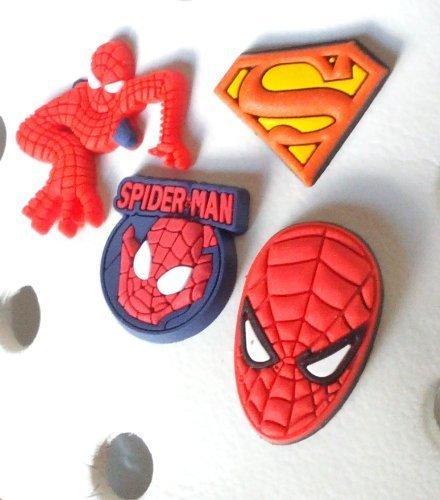 4 pezzi Spiderman Pendaglio di Gomma Decorazione set di Decorazione di Scarpa