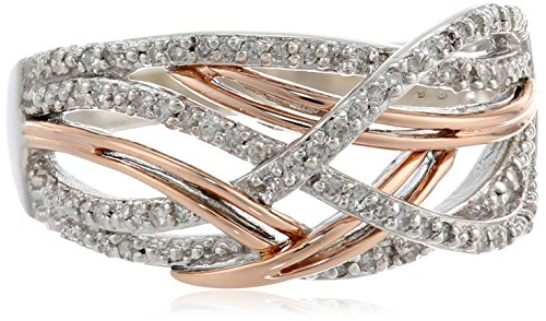 Sterling Silver And 14K Rose Gold Interwoven Diamond (.15Cttw, I-J Color, I2-I3 Clarity) Ring, Size 7