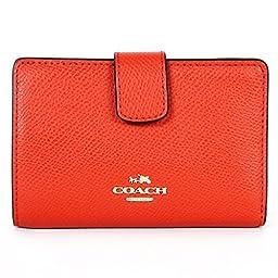 Coach F53436 Crossgrain Leather Medium Corner Zip Wallet Carmine
