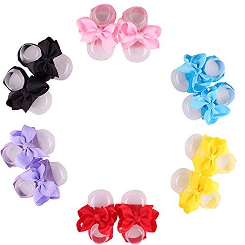 5pcs bambino neonato scarpe sandali a piedi nudi fiocco fiore babbucce per 0 - 3 anni i bambini vecchi assortiti Color