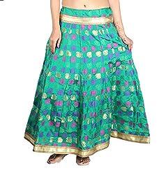 Aura Life Style Georgette Brocade Women's Long Skirt / Lehenga (ALSK4043D,Free Size, Green)