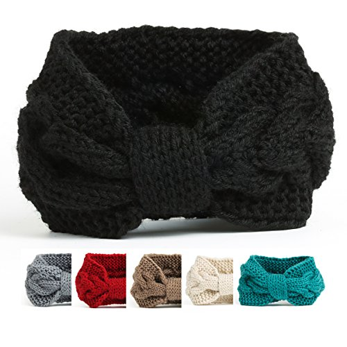 [NISHAER Women's Chunky Knit Wide Headband Turban Styled Headwrap, Black, One size] (Womens Halloween Ideas)