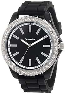 Vernier Women's VNR11087BK Oversized Sparkle Silicon Strap Quartz Watch