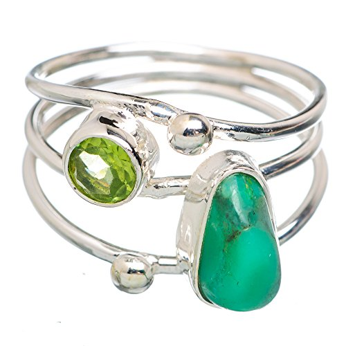 Ana Silver Co Chrysoprase May Birthstone , Peridot 925 Sterling Silver Ring