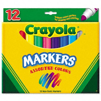 Crayola Classic Markers, Conical Tip, 12 per Set, Nontoxic, Assorted (CYO587712)
