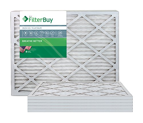 AFB Platinum MERV 13 25x32x1 Pleated AC Furnace Air Filter. Pack of 6 Filters. 100% produced in the USA.