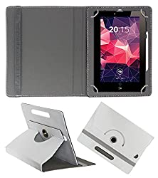 ACM ROTATING 360° LEATHER FLIP CASE FOR ZEBRONICS ZEBPAD 7T500 TABLET STAND COVER HOLDER WHITE