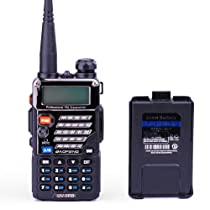 BaoFeng UV-5RB Dual-Band 136-174/400-480 MHz FM Ham Two-Way Radio + Replacement Battery (Black)