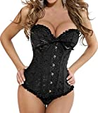 Imilan Black Bustier Tops Plus Size Corset for Women
