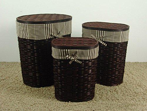 Set 3 cesti bucato in vimini ovale miele scuro