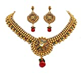 Unicorn's Traditional Gold Plated Ethnic Necklace Set with Earrings - UETMPL05WRG
