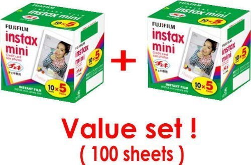 Cheapest Prices! Fujifilm Instax Mini Instant Film, 10Sheets-5Pack×2 Packs(total 100 Sheets) Value ...