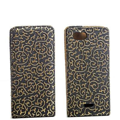 Flip Style Case Handy Tasche für Sony Xperia J / ST26i SCHWARZ GOLD Schutz Hülle mit Blumen Flower Design Leder Etui Cover Gehäuse Neu