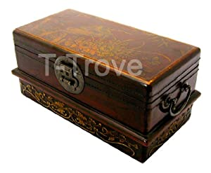 Leather flat cd storage trunk red - Decorative trunks and boxes ...