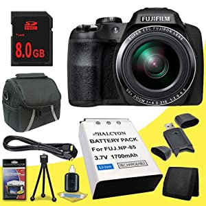Fujifilm FinePix SL1000 16.2 MP Digital Camera + NP-85 Replacement Lithium Ion Battery + 8GB SDHC Class 10 Memory Card + Mini HDMI Cable + Carrying Case + SDHC Card USB Reader + Memory Card Wallet + Deluxe Starter Kit DavisMax Bundle