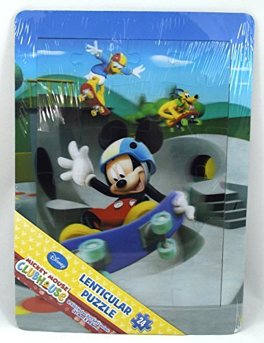 Disney Mickey Mouse Clubhouse Frame Lenticular (3D) Jigsaw Puzzle - 24 Pieces - Mickey Mouse, Pluto and Donald Duck Skateboarding - 1
