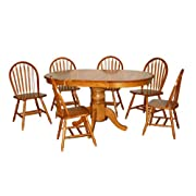 TMS 7 Piece Farmhouse Dining Set Oak