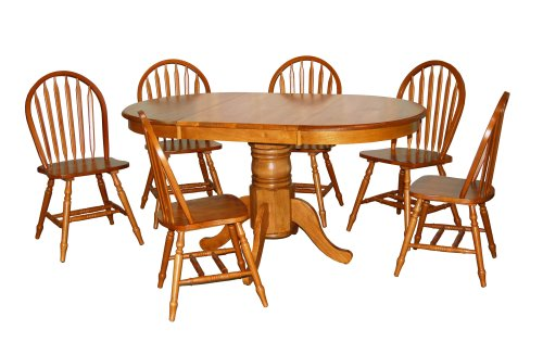 Target Marketing Systems 7 Piece Farmhouse Dining Set, Oak