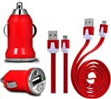Wayzon RED Vehical Travel iN Car Charger Adapter In Bullet Shape With Flat 2.0 Micro USB Sync Data Cable Lead Suitable For BlackBerry Curve 9220 / 9320 / 9350 / 9360 / 9370 / 9380