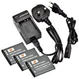 DSTE (3-pack) Li-50B Rechargeable Li-ion Battery + Charger DC16U for Olympus Stylus 1010, 1020, 1030, 9000, 9010, SP-720UZ iHS, SP-800UZ, SP-810UZ, SZ-10, SZ-11, SZ-12, SZ-15, SZ-16 iHS, SZ-20, SZ-30MR
