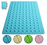 """Luxury Anti Slip Suction Bath Mat - Non Slip Mats for Tub & Shower Bathroom Safety - Latex & PVC Free Natural Rubber - 15.7"""" x 27.5"""" - Ideal for Homes, Hotels, Gyms & Long-Term Care Facilities (Blue)"""