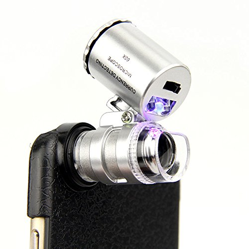 Portable 60X Zoom Microscope Mini UV LED Magnify Magnifier Micro Lens for iPhone6 4.7