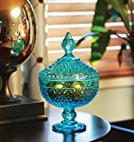 """Circleware Italian Cut Footed Blue Glass Candy/potpourri Dish/jar/bowl with Glass Lid and Handle, 6""""x3.39""""x9.45"""", Wentworth Collection Limited Edition Glassware Serveware"""