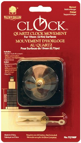 Walnut Hollow Quartz Clock Movement, for 3/4-Inch Surfaces