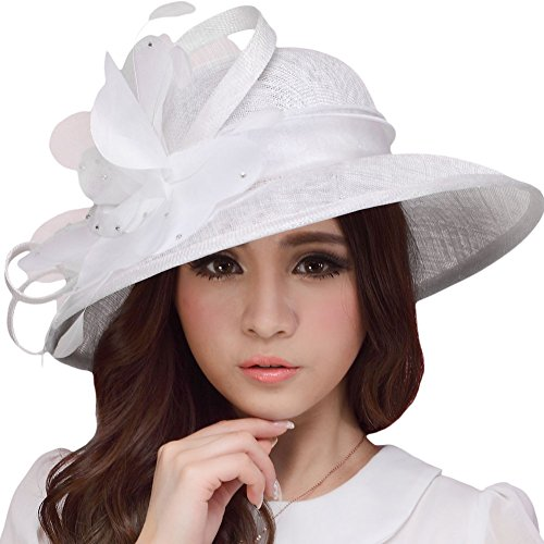 June's Young Women Hats Ladies Church Hat Cocktail Sun Hat Epsom derby Hat Vintage Sinamay Hat (White)
