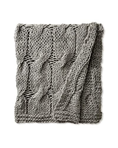 Aviva Stanoff Cable Knit Throw, Medium Grey