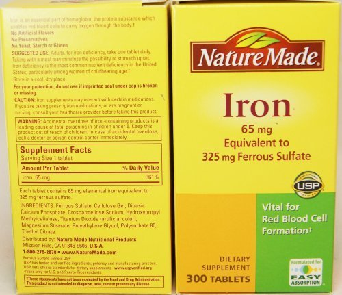 Nature Made Iron 65mg, Equivalent to 325 Mg Ferrous Sulfate - 300 Tablets -2 Pack, Total 600 Tablets. (Iron Tablets 325 Mg compare prices)