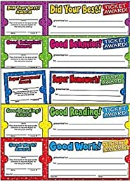 Scholastic Ticket Awards Class Pack, 8-1/2 X 2-3/4 in, Pack of 5