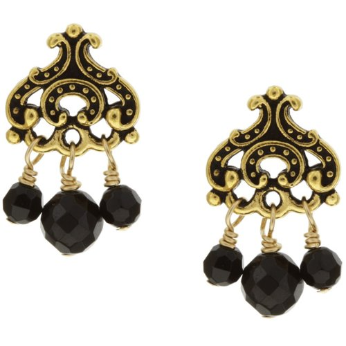 Charming Life Goldplated Pewter Onyx Chandelier Earrings