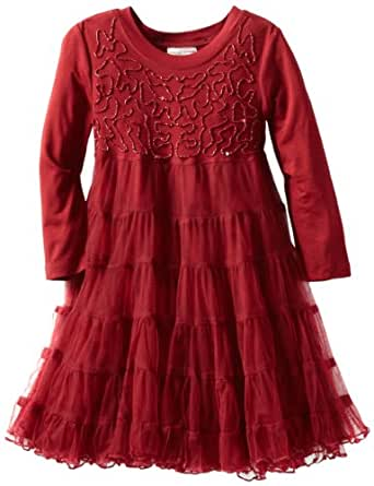 Mimi & Maggie Little Girls' Kids Midnight Party Dress, Burgundy, 4