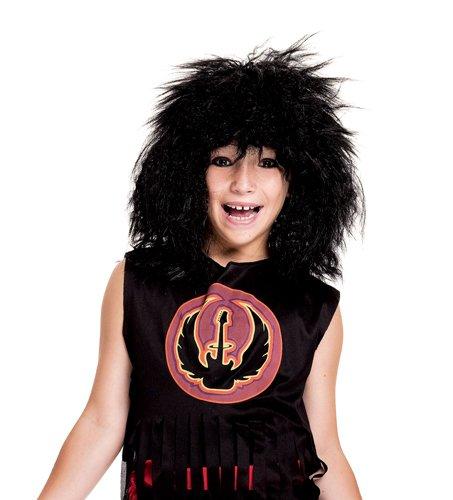 80s rock star black child wig