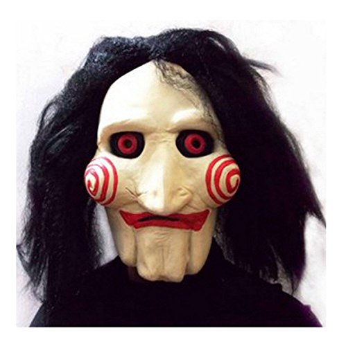 [New Creepy Saw Billy Jigsaw Puppet Mask Halloween Party Cosplay Costume Prop] (Edward Scissorhands Womens Halloween Costume)