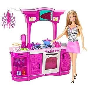 Barbie kitchen play set glam kitchen toys for Kitchen set toys amazon