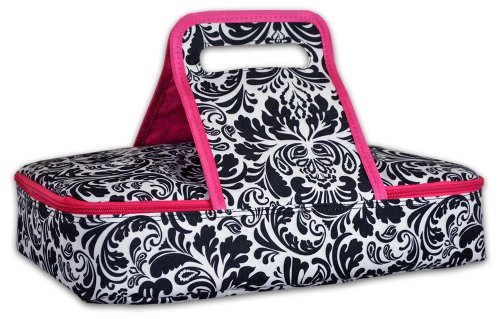DII Insulated Casserole Carrier, Perfect for Holidays, BBQ's, Potlucks, Parties, To Go Lunches, Craft/Dish Storage & Monogramming - Damask Black/White - 1