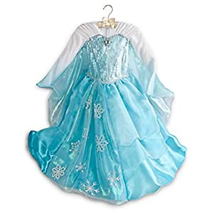 Disney Store Elsa Deluxe Costume Dress for Girls with Tiara - Frozen Size 4