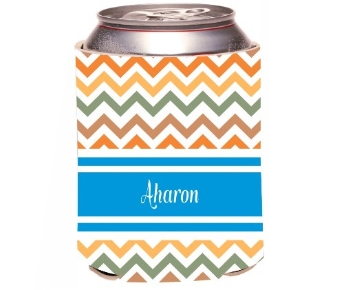 "Rikki Knighttm ""Aharon"" Blue Chevron Name Design Drinks Cooler Neoprene Koozie front-15423"